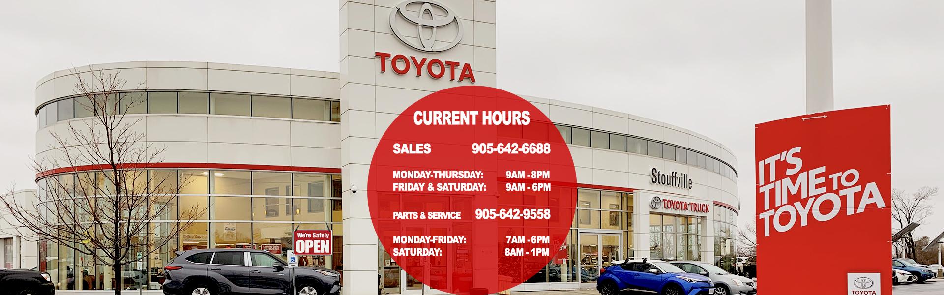 Stouffville Toyota Dealer Hours Update